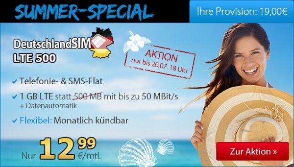 2-faches Datenvolumen bei DeutschlandSIM: Allnet- und SMS-Flat mit 1 GB nur 12,99 Euro