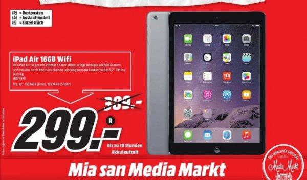 [Lokal Mediamärkte München] Apple iPad Air MD785FD/A WIFI 16GB Tablet-PC, iOS 7, A7, 24,6 cm (9,7 Zoll), spacegrau und silber für 299,-€