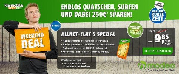 Klarmobil Allnet Flat 500 MB D-Netz für 9,85€ mtl.