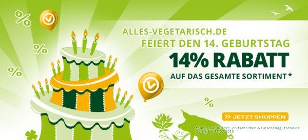 [alles-vegetarisch.de] 14% Rabatt auf alles - zusätzliche Gutscheinverwendung möglich! Nur heute!