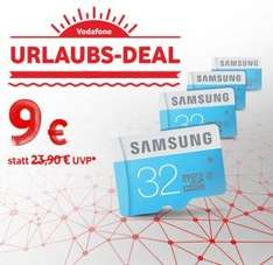 [Vodafone] Samsung Memory 32GB Standard MicroSDHC Class 6 Speicherkarte Memory Card für 9,-€. Gültig in den Filialen