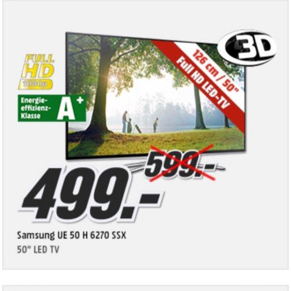 Media Markt Samsung UE50H6270 3D TV 499€ (100€ gespart)!!!