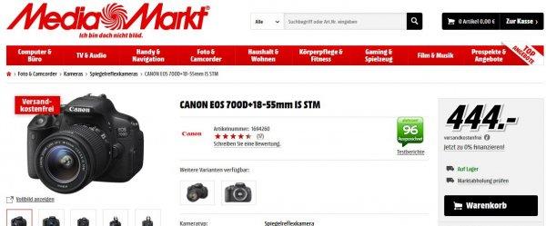 [Mediamarkt Online] Canon EOS 700D + 18-55 IS STM für 444€ - 50€ Cashback = 394€