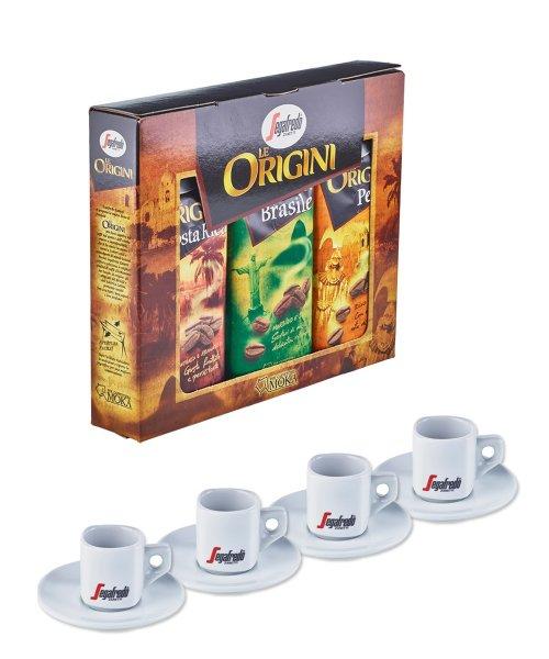 Le Origini Tripack - drei Kaffeesorten + 4 Espresso Tassen bei www.segafredoshop.de