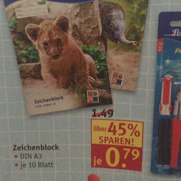Pelikan Zeichenblock Din A 3 bei Rossmann 0,79€ 45%sparen