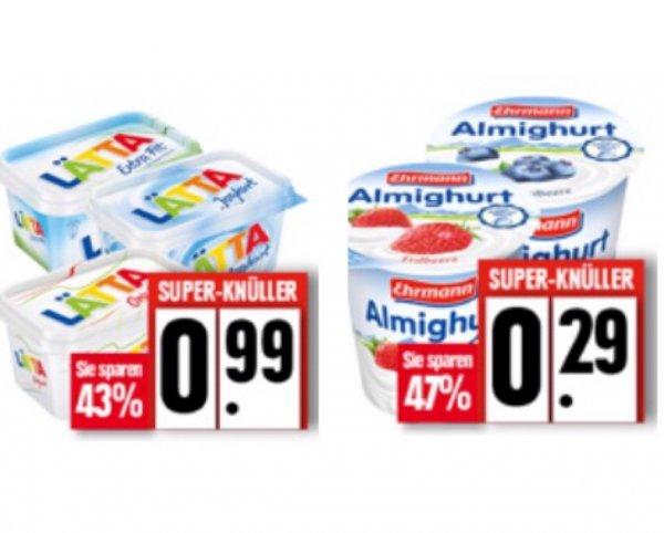 Lätta (500g) für 0,99€ / Ehrmann Almighurt (150g) für 0,29€ / 47% günstiger @EDEKA