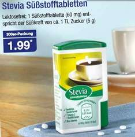 |Aldi Nord| Stevia Süßstofftabletten 300 Stück nur 1,99€