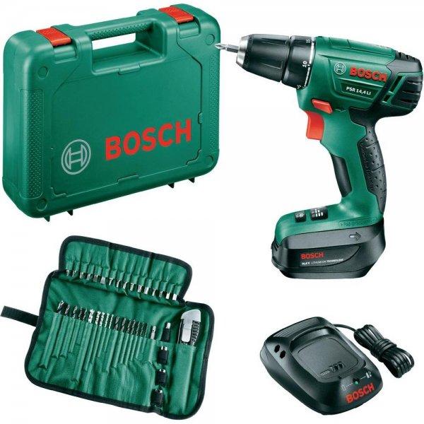 Bosch Akku-Bohrschrauber PSR 14,4 LI, inkl. 39tlg. Bit-& Bohrer-Set + Akku + Koffer für nur  89,00 € statt 139,95 €, @voelkner