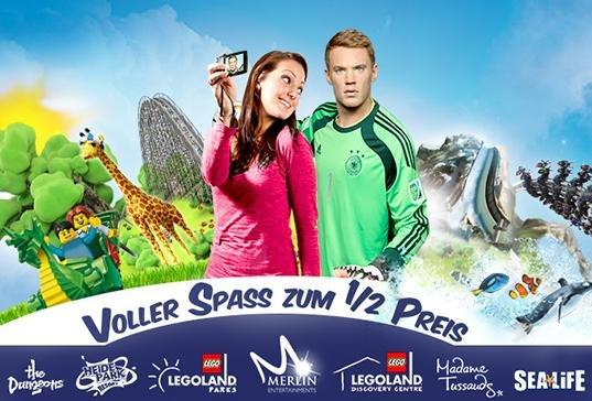 Heide Park / Legoland Discovery / Legoland Deutschland / Sea Life / Abenteuer Park /  The Dungeons / Madame Tussauds - 2 für 1 Eintrittskarten über Paypal