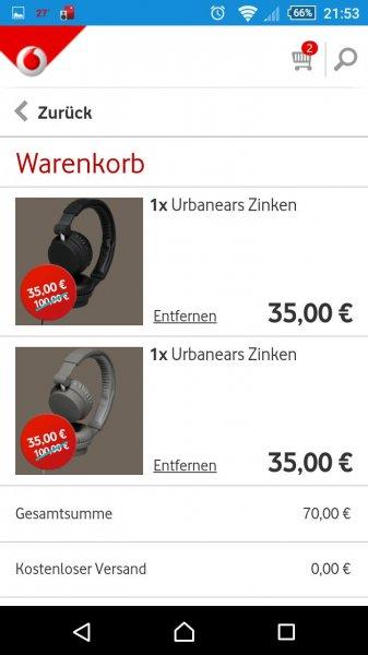 [Vodafone Zubehör App] Urbanears Zinken Kopfhörer schwarz & grau für 35,00€ inkl. Versand
