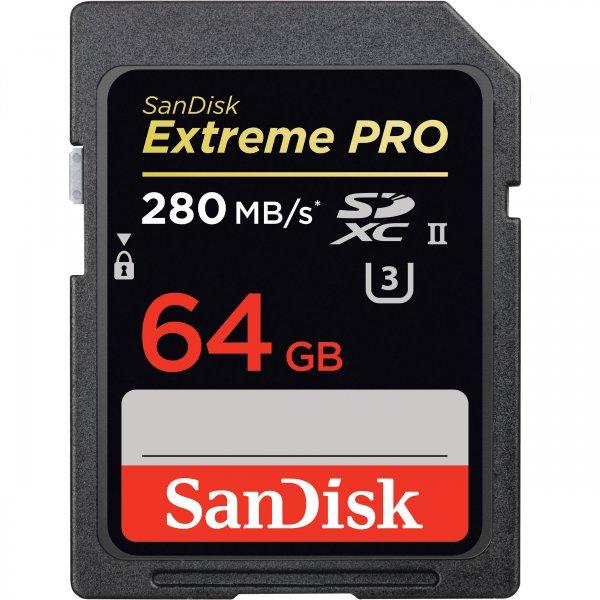SanDisk Extreme Pro, 64GB, SDXC UHS-II, 280 MB/s - für unter 100€