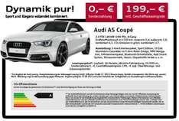 [LEASING] Audi A4 Avant / A5 Sport Edition 24 Monate, 0,- Anz., 10tkm/Jahr 199,- netto p.m. für Gewerbe