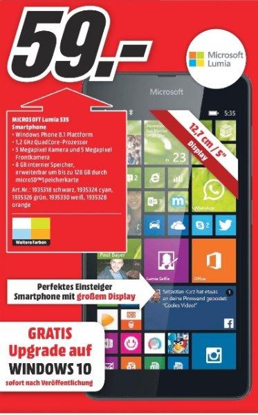 [Lokal Mediamarkt Leinfelden]Microsoft Lumia 535 Smartphone (12,7 cm (5 Zoll) Display, Quad-Core Snapdragon 200 Prozessor, 1,2GHz, 5 Megapixel Kamera, Single-SIM, Win 8.1),verschiedene Farben für 59,-€