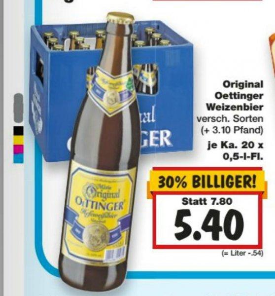 [Kaufland bundesweit 23.7.-25.7.] Verschiedene Biersorten je nach Region reduziert z.B. Stuttgart Oettinger Weizen für 5,40 Euro (30% Rabatt) zzgl. Pfand