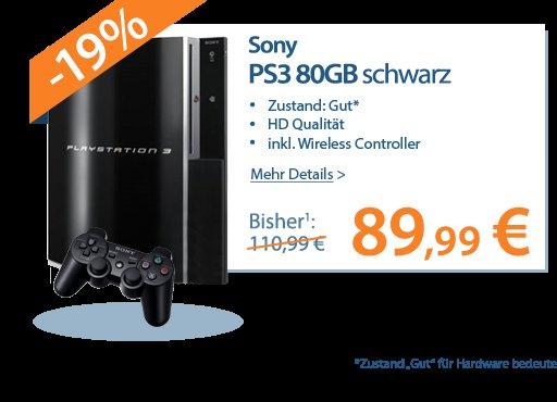 [Rebuy] Sony Playstation 3 gebraucht-gut - 80GB inkl. Wireless Controller &18 Monate Garantie für nur 86,98€ inkl. Versand