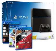 Sony PlayStation 4 500GB Bundle inkl. Driveclub, Little Big Planet 3, The Last of Us: für nur 388,19 inkl. Versand