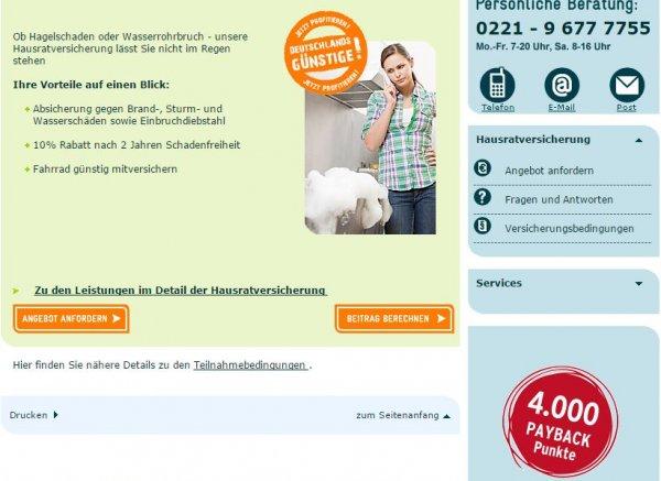 Payback Asstel u.a. Hausratversicherung mit 4000 Punkten