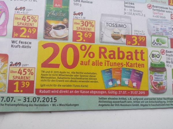 (Rossmann) 20% Rabatt auf Itunes Karten - 15€ für 12€, 25€ für 20€, 50€ für 40€ und 100€ für 80€