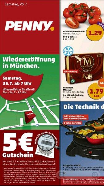 [lokal München] Am Samstag einen 5€ Penny Gutschein erhalten ab einem Einkaufswert von 40€ // Partypfanne Wok für 14€