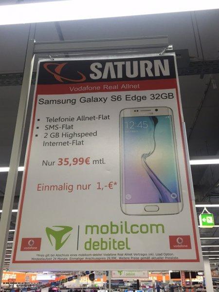 Lokal Saturn Dortmund Eving Samsung Galaxy S6 Edge 32 GB inkl. Allnet Flat / SMS Flat / 2 GB Datenvolumen ( 21.6 MBit/s) Mobilcom Debitel Vodafone Netz 1€