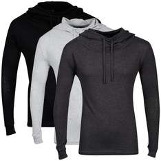 Tweet Bravesoul Men's 3-Pack Hooded Tops - Black/Grey Marl/Charcoal @ The Hut Nur 13,89 €