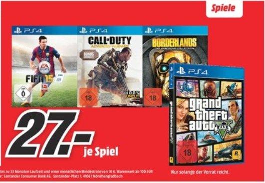 [Lokal Mediamarkt Berlin-Prenzlauer Berg] GTA 5 (PS4)**COD Advanced Warfare-Special Edition (PS4)***Borderlands: The Handsome Collection (PS4)***FiFA 15 (PS4) je nur 27,-€