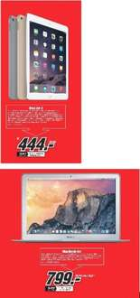 "[Lokal Mediamarkt Berlin-Prenzlauer Berg] Apple iPad Air 2,64GB, Wi-Fi,alle Farben für 444,-€***Apple MacBook Air 13"" 2015 (MJVE2D/A) für 799,-€"