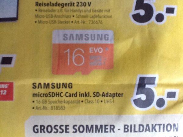 [bundesweit MediMax] - Samsung Evo 16GB microSDHC inkl. Adapter für 5€