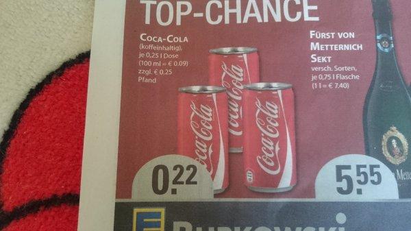 [Lokal Bochum Edeka Burkowski] kleine Coca-Cola Dose 250ml für 22 Cent + Pfand