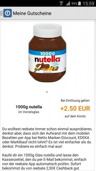 [Netto Markendiscount (ohne Hund) + Reebate] 1 kg Nutella für 1 € (27.07 - 01.08)