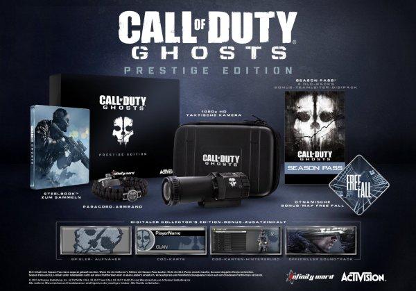 [Amazon.de] PlayStation 3 - Call of Duty: Ghosts - Prestige Edition (100% uncut)  mit 1080p HD Taktischen Kamera / 4GB MicroSD Memory Card, Season Pass