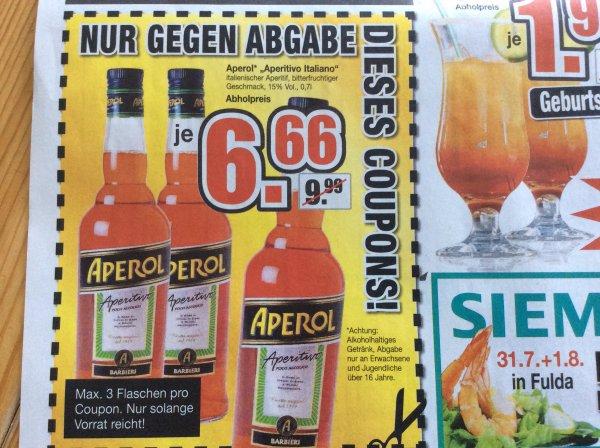Aperol 0,7 l - lokal Fulda und Wolfsburg Möbel Buhl