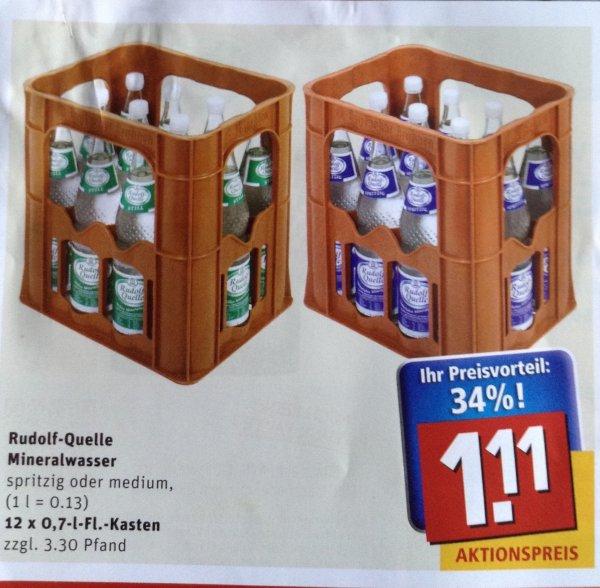 (Lokal Alzenau) Rewe Center Rudolf-Quelle 12 x 0,7l Mineralwasser für 1,11 Euro
