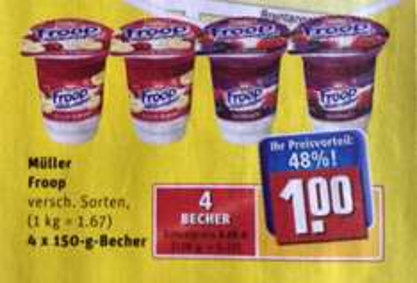 Rewe 4 Froop Joghurt Becher für 1 Euro (Becherpreis 0,25 Euro)