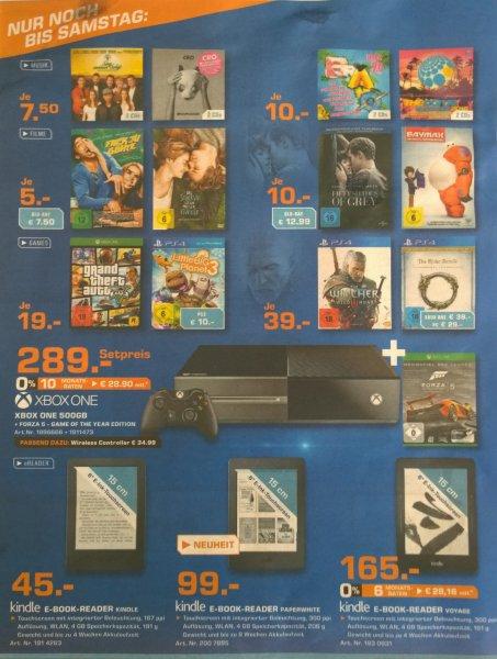 [Lokal Saturn Aachen/Mönchengladbach/Moers evtl. NRW] GTA V Xbox One 19€, Xbox One inkl. Forza V GOTY 289€, Witcher PS4 39€