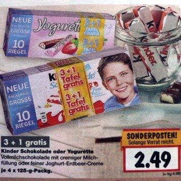 Kinderschokolade/Jogurette 500g (40 Riegel) @ z.B. Kaufland Oschersleben, Kaufland Hannover