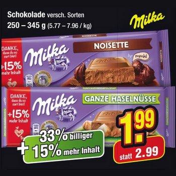 [NETTO MD] Milka Schokolade 250-345g (15% mehr) 33% günstiger für 1,99€