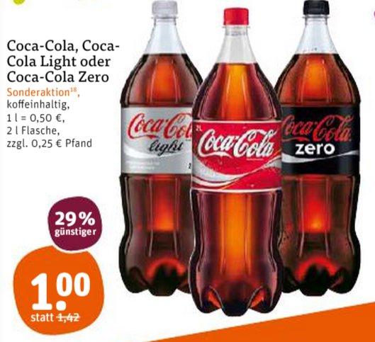 [TEGUT] Coca Cola / Coca Cola Light / Coca Cola Zero 2,0l für 1,00€ (31.07.+01.08.)