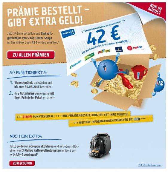 Payback Kampagne - Prämien bestellen + 42 Euro Einkaufsgutscheine von 5 Top Shops gratis erhalten