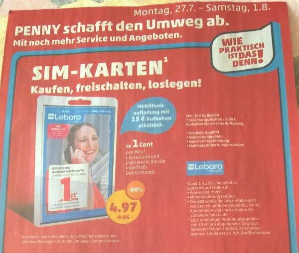 Lebara Starter Paket mit 2,53 € Gewinn bei Penny