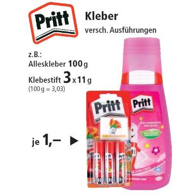 [THOMAS PHILIPPS] 3x Pritt Klebestifte 11g // Pritt Schulkleber flüssig 100g für nur 1,00€