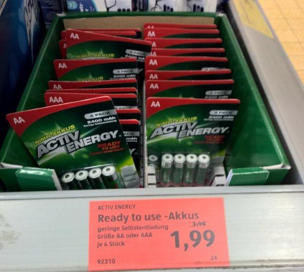 [ALDI Süd - lokal MG] Ready to Use NiMH-Akkus 50 Cent/Stück