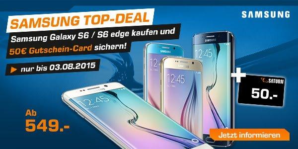 Saturn: Galaxy S6 549€ + 50€ Gutschein // S6 Edge 679€ + 50€ Gutschein