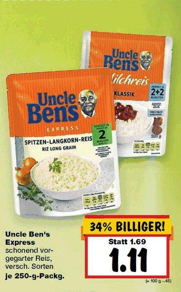 [KAUFLAND] Bundesweit  Uncle Bens Expressreis (versch. Sorten) für nur 0,11 EUR (03. - 08.08.)