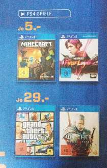 [LOKAL] Saturn Landshut/Freising PS4-Games: Minecraft / inFAMOUS FirstLight je 5€, GTA5 / The Witcher III je 29€