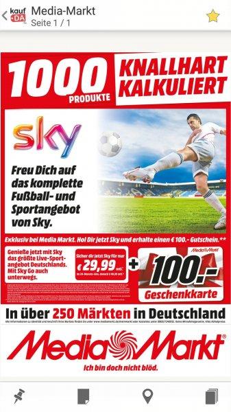 100€ Media Markt Gutschein für Sky Welt + Bundesliga + Sport 29.99€