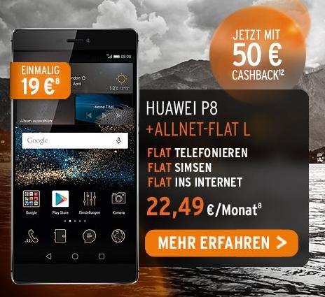 otelo: 50€ Cashback-Aktion    Otelo Allnet Flat   750 MB bei 21,6 Mbit/s UMTS für 22,49 € / Monat mit Huawei P8 19 € Zuzahlung