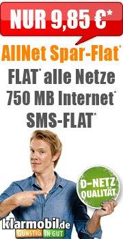 Klarmobil Allnet Spar-Flat / SMS Flat / 750MB / D-Netz / für 9,85€/Monat auf der Rechnung!