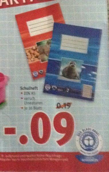 Rossmann: Schulheft DIN A5 verschiedene Lineaturen für 0,09 Euro