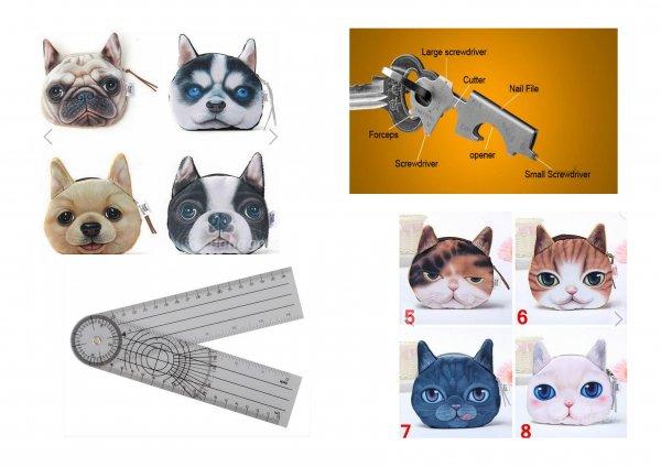 banggood.com - 3D Katzen oder Hunde Geldbeutel, 8 in 1 Flaschenöffner Schlüsselanhänger, 360° Goniometer / Preis inkl. Versand: 0,01 € - Deallinks unten markiert! Preise sind nur in der App so!